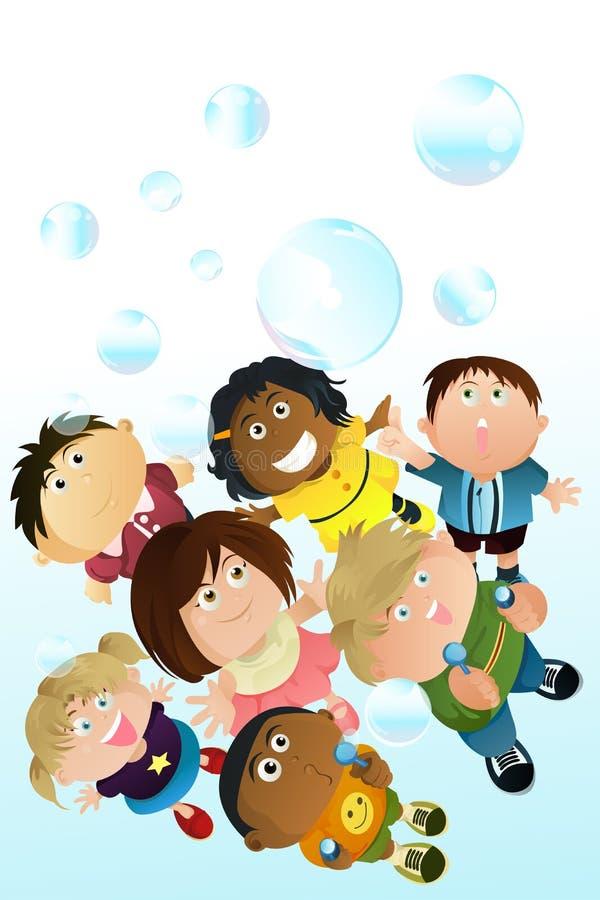 Enfants jouant des bulles illustration libre de droits