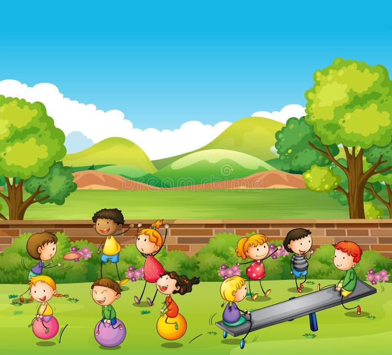 Enfants jouant des jeux en parc illustration stock