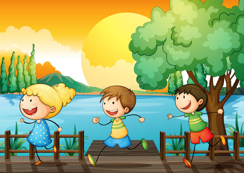 Enfants jouant en rivière illustration de vecteur