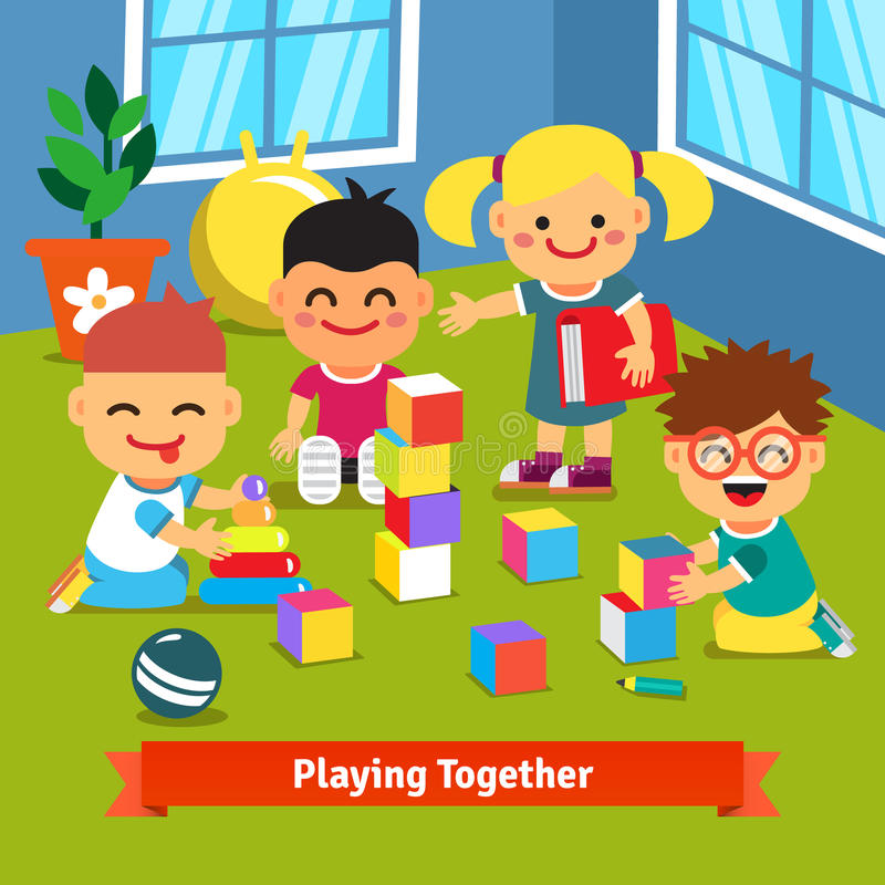 enfants jouant ensemble dans la chambre de jardin d 39 enfants illustration de vecteur. Black Bedroom Furniture Sets. Home Design Ideas