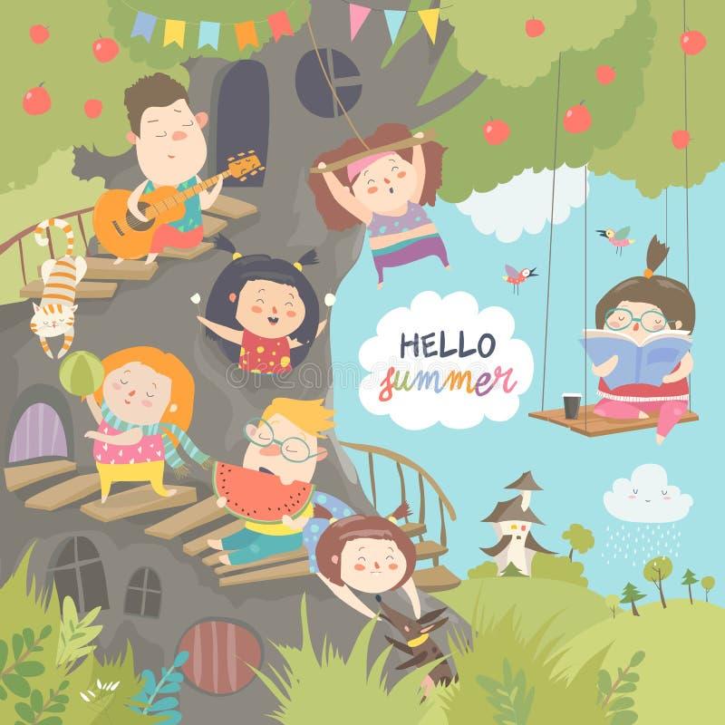 Enfants jouant et ayant l'amusement dans la cabane dans un arbre illustration stock
