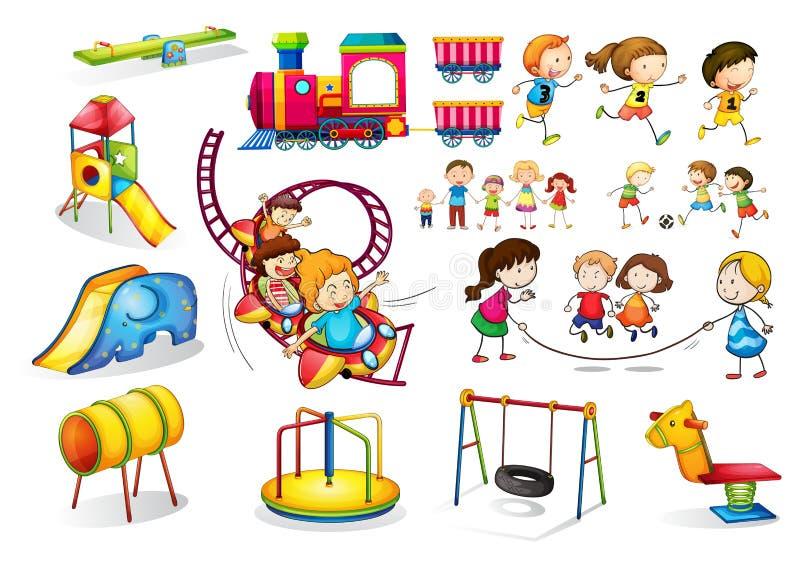 Enfants jouant et ensemble de terrain de jeu illustration stock