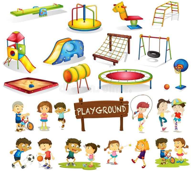 Enfants jouant et ensemble de terrain de jeu illustration libre de droits