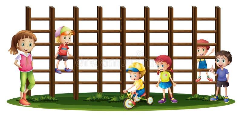 Enfants jouant et montant les barres illustration de vecteur