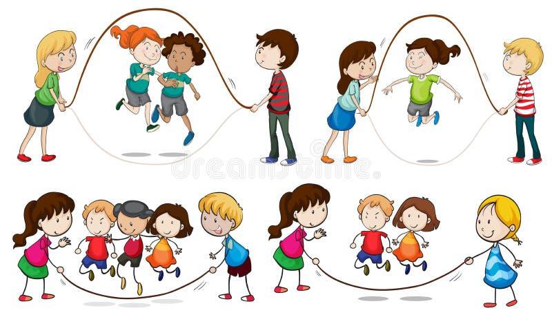 Enfants jouant la corde à sauter illustration de vecteur