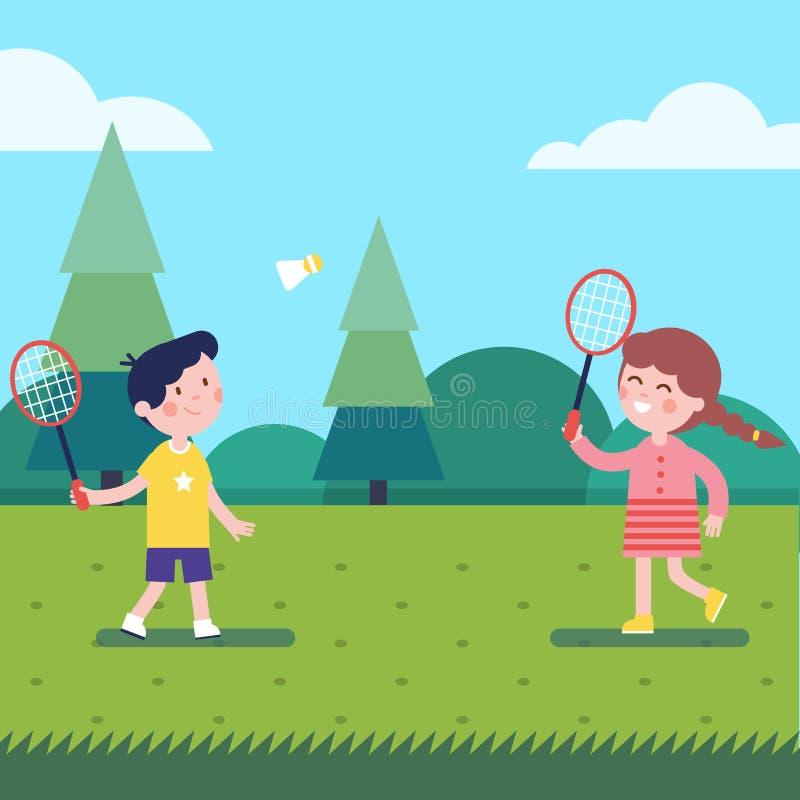 Enfants jouant le badminton extérieur sur l'herbe illustration libre de droits