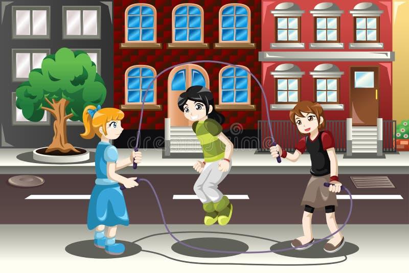 Enfants jouant le double néerlandais illustration de vecteur