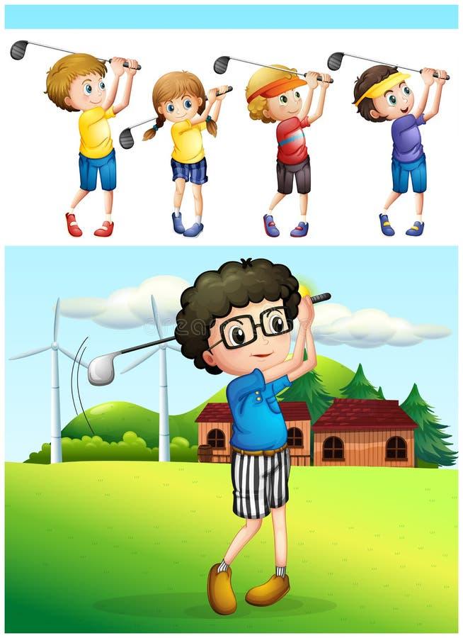 Enfants jouant le golf sur la pelouse illustration de vecteur