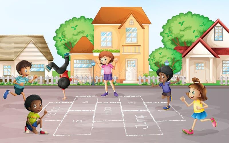 Enfants jouant le jeu de marelle au village illustration de vecteur