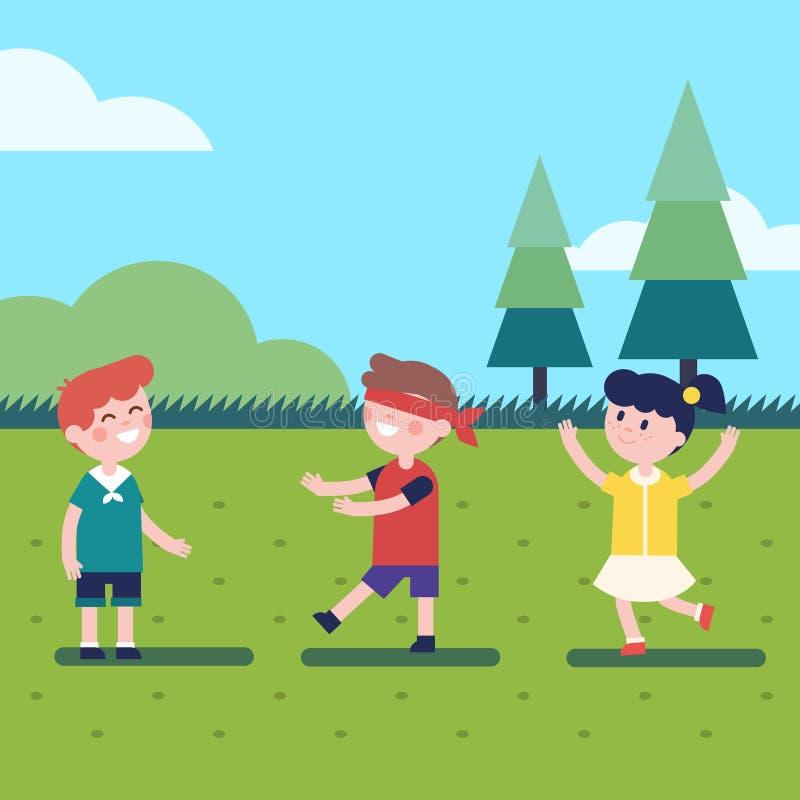 Enfants jouant le jeu les yeux bandés extérieur illustration stock