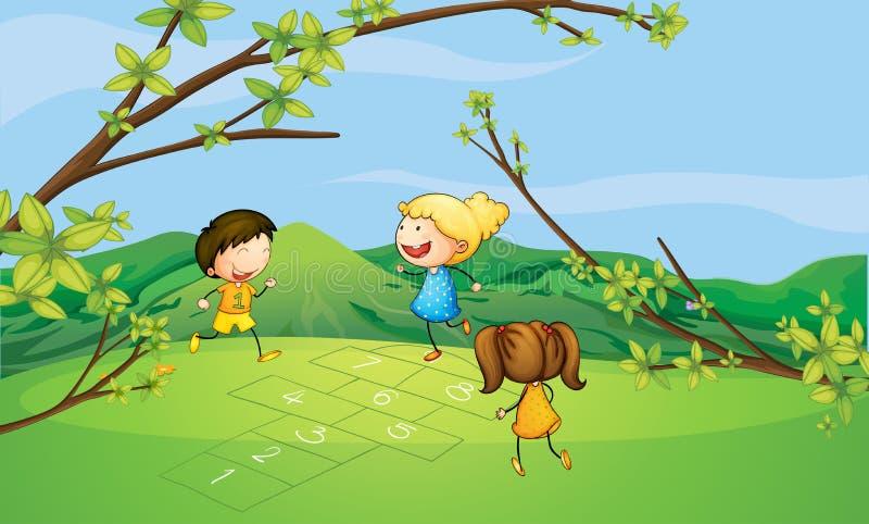 Enfants jouant près de la montagne illustration stock