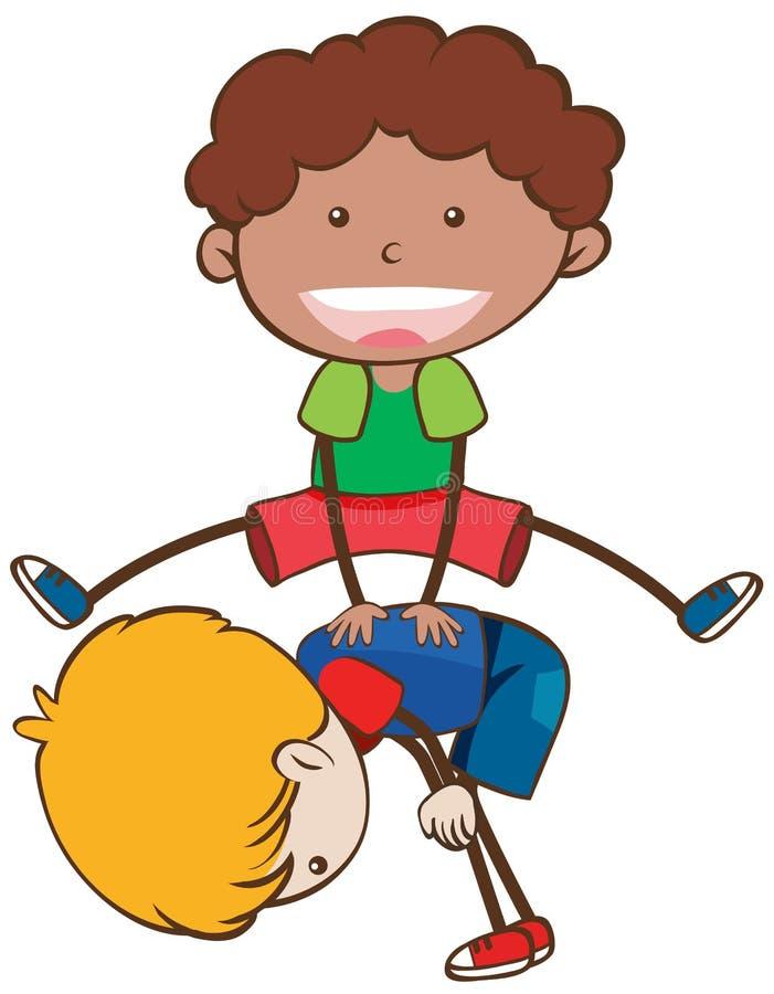 Enfants jouant saute-mouton sur le fond blanc illustration stock
