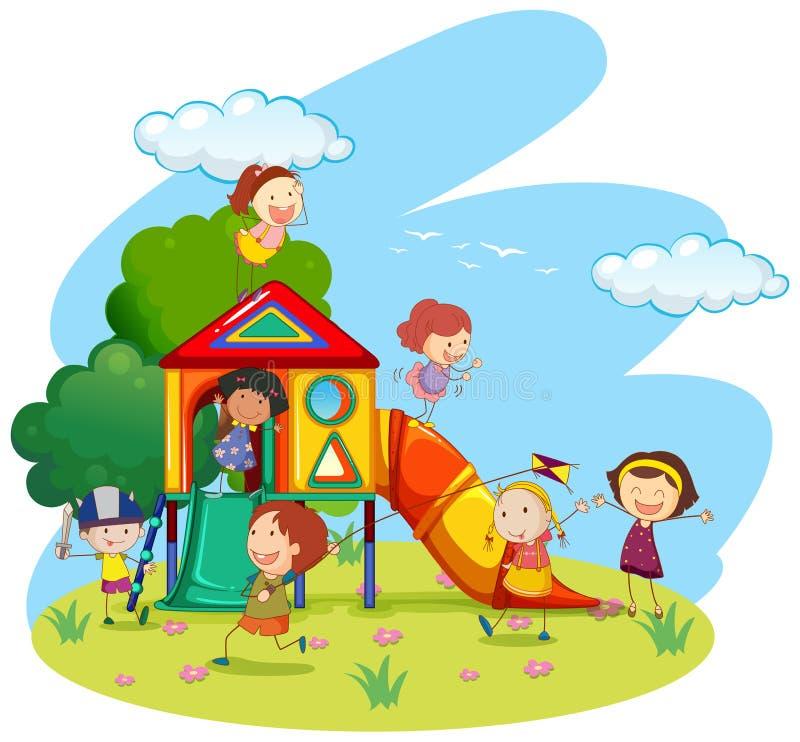 Enfants jouant sur la glissière en parc illustration stock