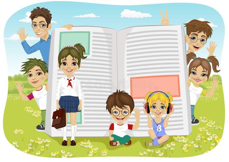 Enfants jouant sur le champ à côté du livre géant illustration de vecteur