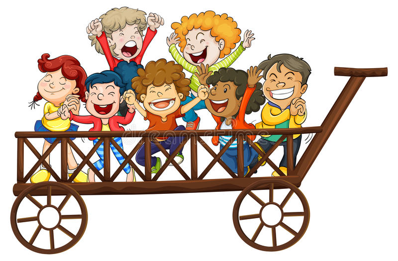 Enfants jouant sur le chariot géant illustration libre de droits