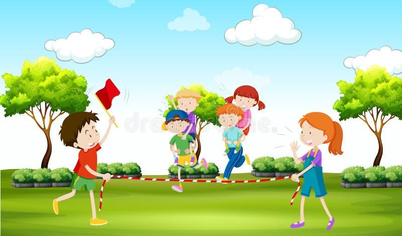 Enfants jouant sur le dos le tour en parc illustration stock