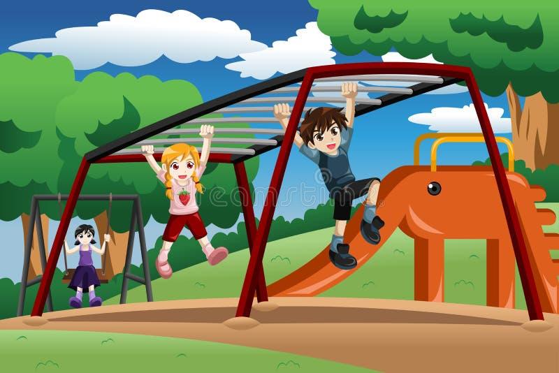 Enfants jouant sur une barre de singe au terrain de jeu illustration stock