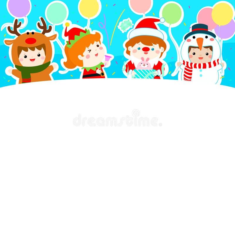 Enfants joyeux avec le vecteur de fond de costumes de Noël illustration stock