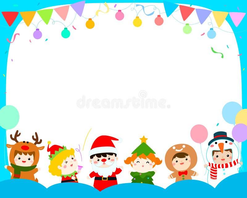 Enfants joyeux avec le vecteur de fond de costumes de Noël illustration de vecteur