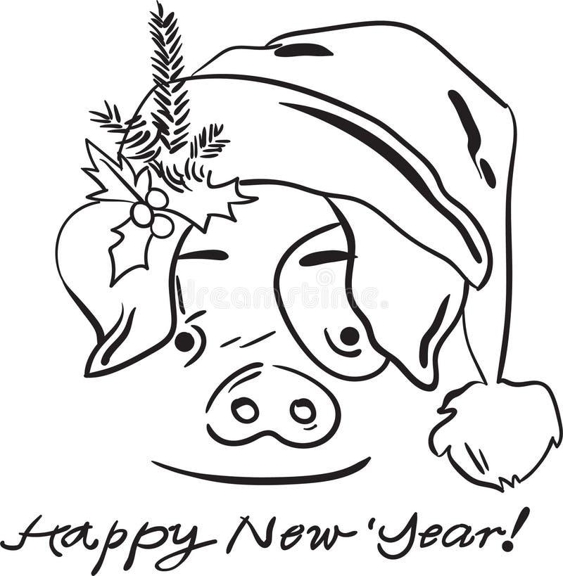 Enfants joyeux de page de coloration de nouvelle année de porc de Noël illustration libre de droits