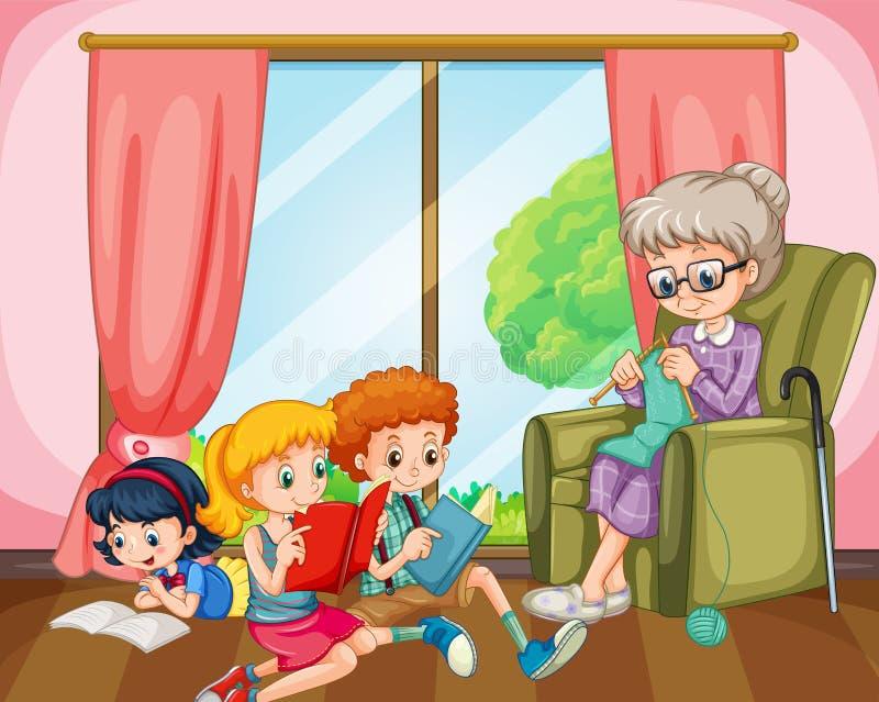 Enfants lisant et tricotage de vieille dame illustration de vecteur