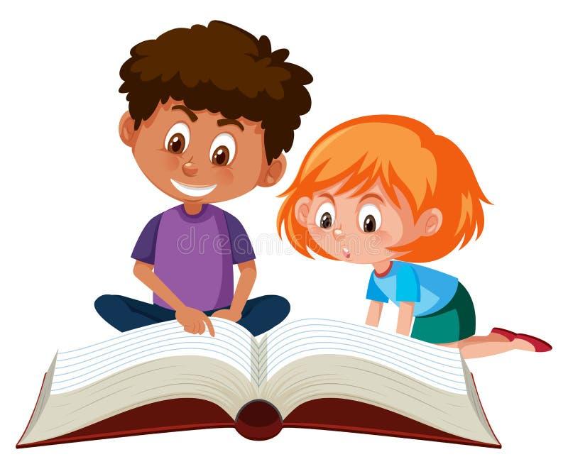 Enfants lisant un livre géant illustration de vecteur