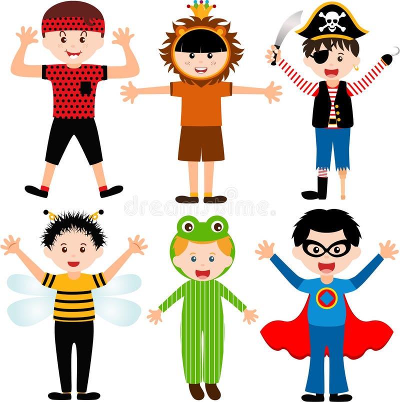 Enfants mâles de bande dessinée dans des costumes illustration libre de droits