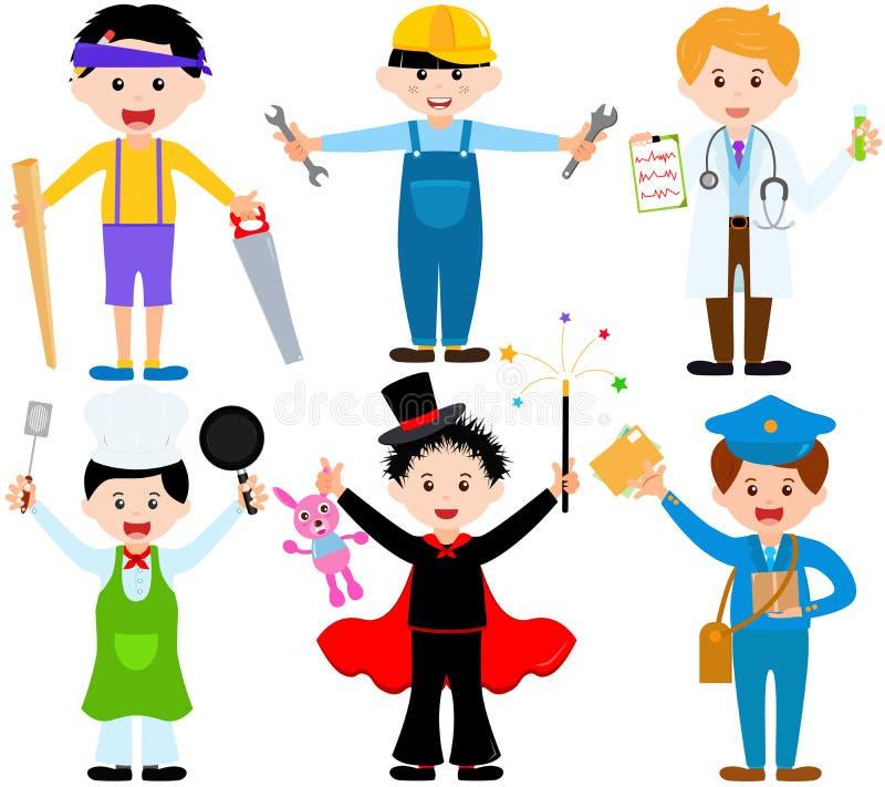 Enfants mâles de bande dessinée dans des costumes illustration de vecteur