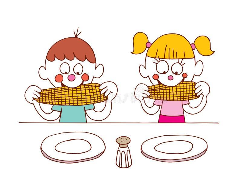 Enfants mangeant du maïs illustration libre de droits
