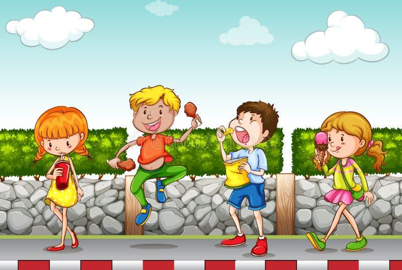 Enfants mangeant et buvant sur le trottoir illustration de vecteur