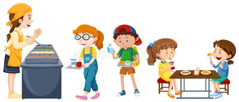 Enfants mangeant sur la table à la cantine illustration stock