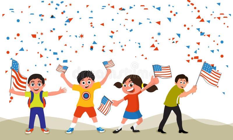 Enfants mignons célébrant le Jour de la Déclaration d'Indépendance américain illustration de vecteur