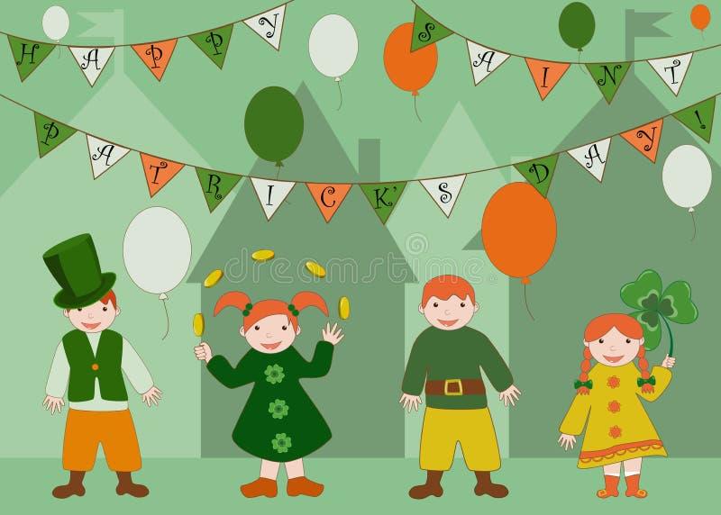 Enfants mignons célébrant le jour de Patricks de saint illustration de vecteur