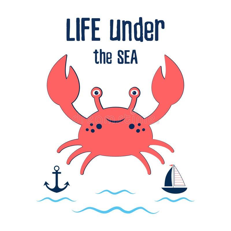 Enfants mignons d'impression de crabe illustration stock