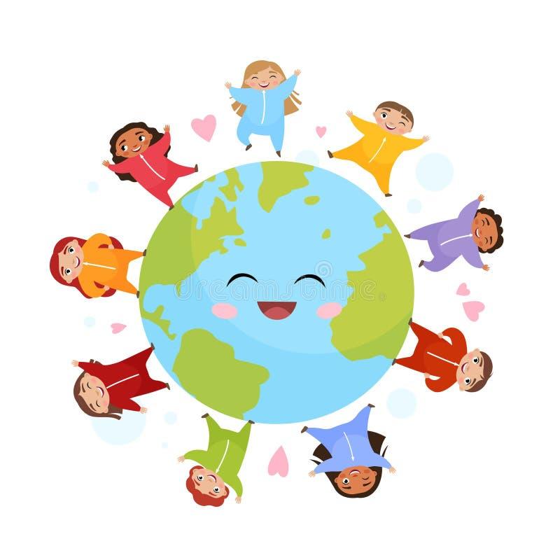 Enfants mignons de différentes nationalités sur le globe illustration de vecteur