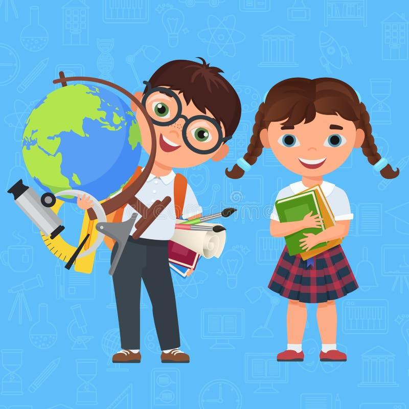 Enfants mignons de garçon et de fille De nouveau à l'école personnages de dessin animé d'isolement Illustration de vecteur pour d illustration libre de droits