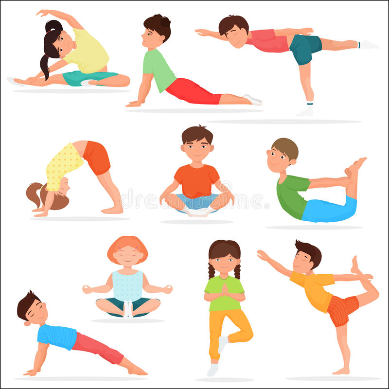 Enfants mignons de yoga réglés Illustration de vecteur de gymnastique de yoga d'enfants illustration libre de droits
