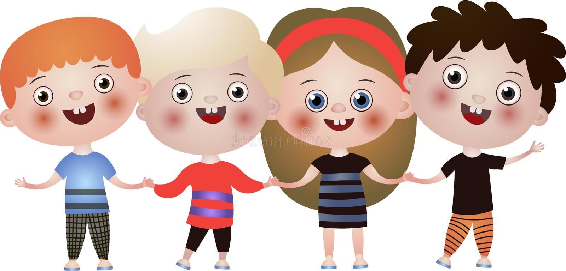 Enfants mignons et drôles heureux dansant dans des vêtements colorés illustration de vecteur