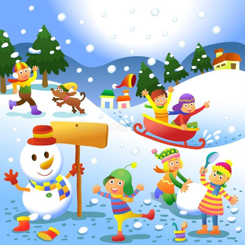 Enfants mignons jouant des jeux d'hiver illustration libre de droits