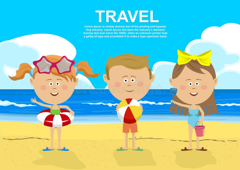 Enfants mignons se tenant sur la plage tenant les anneaux, la boule, le seau et la pelle gonflables illustration stock