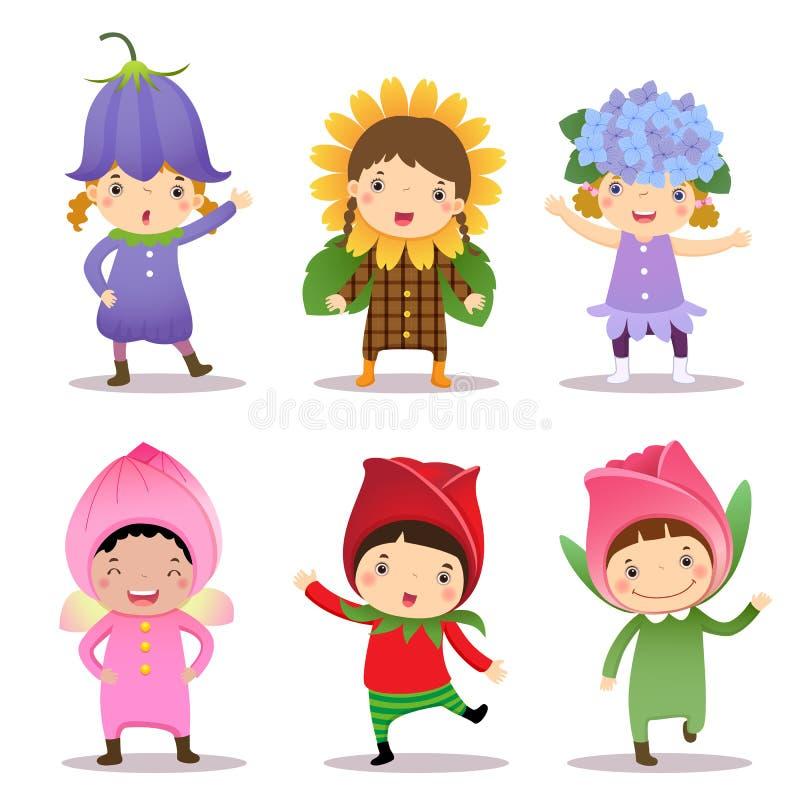 Enfants mignons utilisant des costumes de fleurs illustration de vecteur