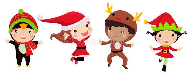 Enfants mignons utilisant des costumes de Noël illustration de vecteur