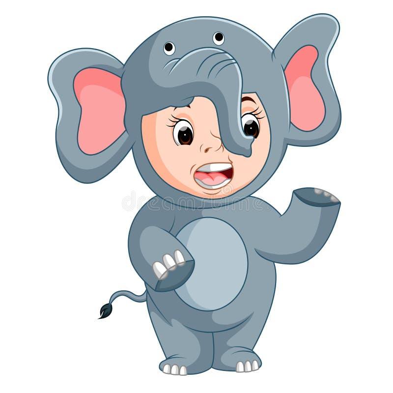 Enfants mignons utilisant les costumes animaux illustration de vecteur