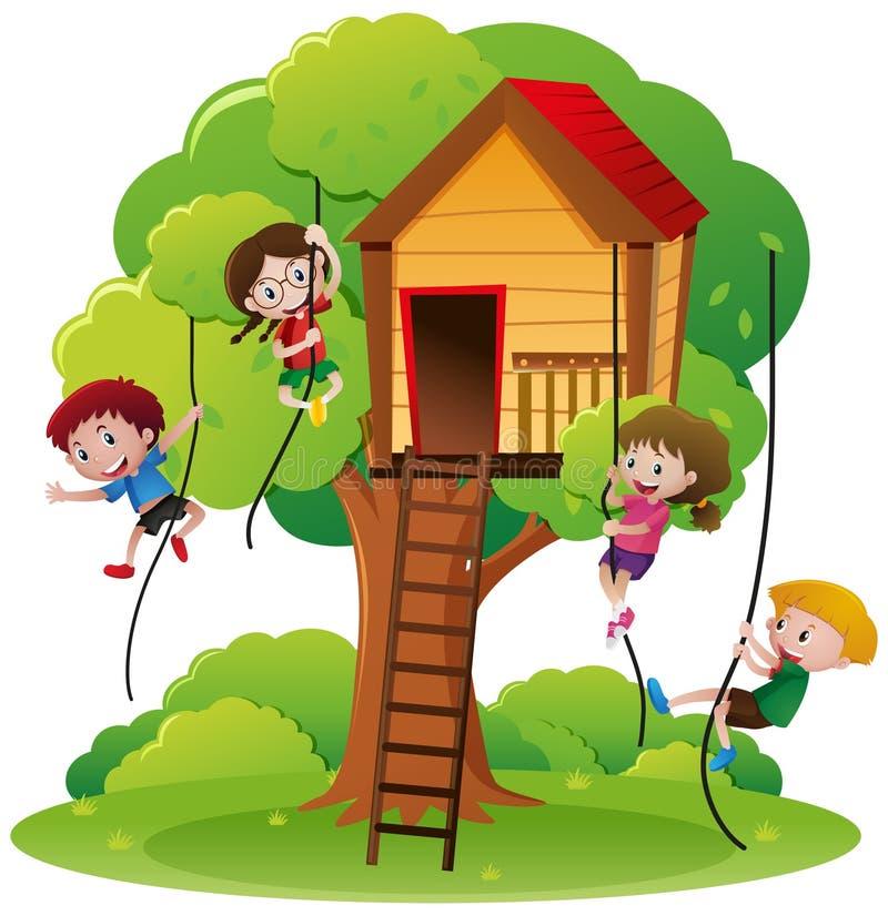 Enfants montant la corde jusqu'à la cabane dans un arbre illustration stock
