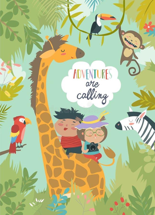 Enfants montant la girafe illustration de vecteur