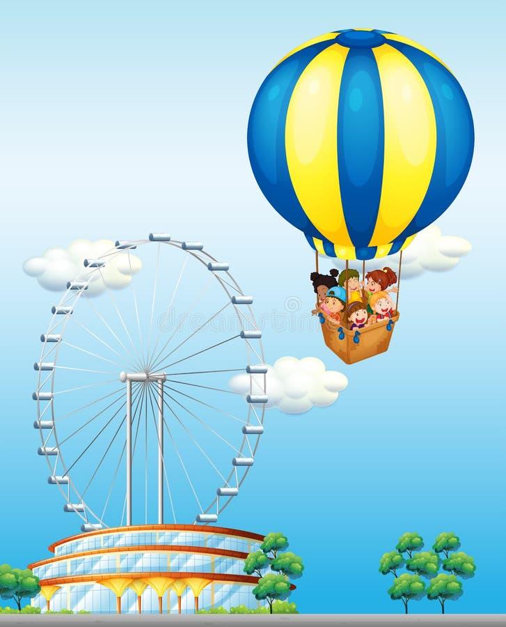 Enfants montant sur le ballon géant en ciel illustration de vecteur