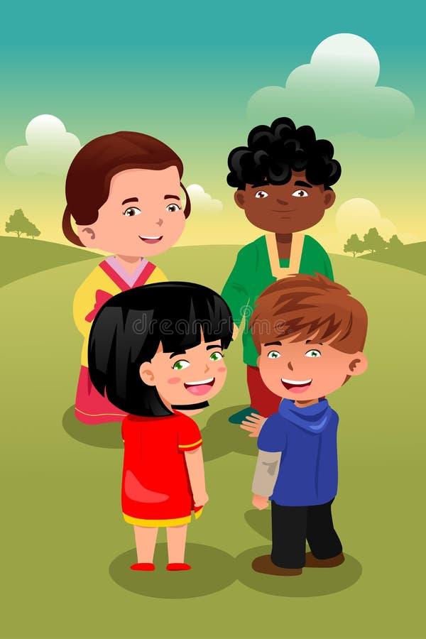 Enfants multi-ethniques jouant ensemble illustration libre de droits