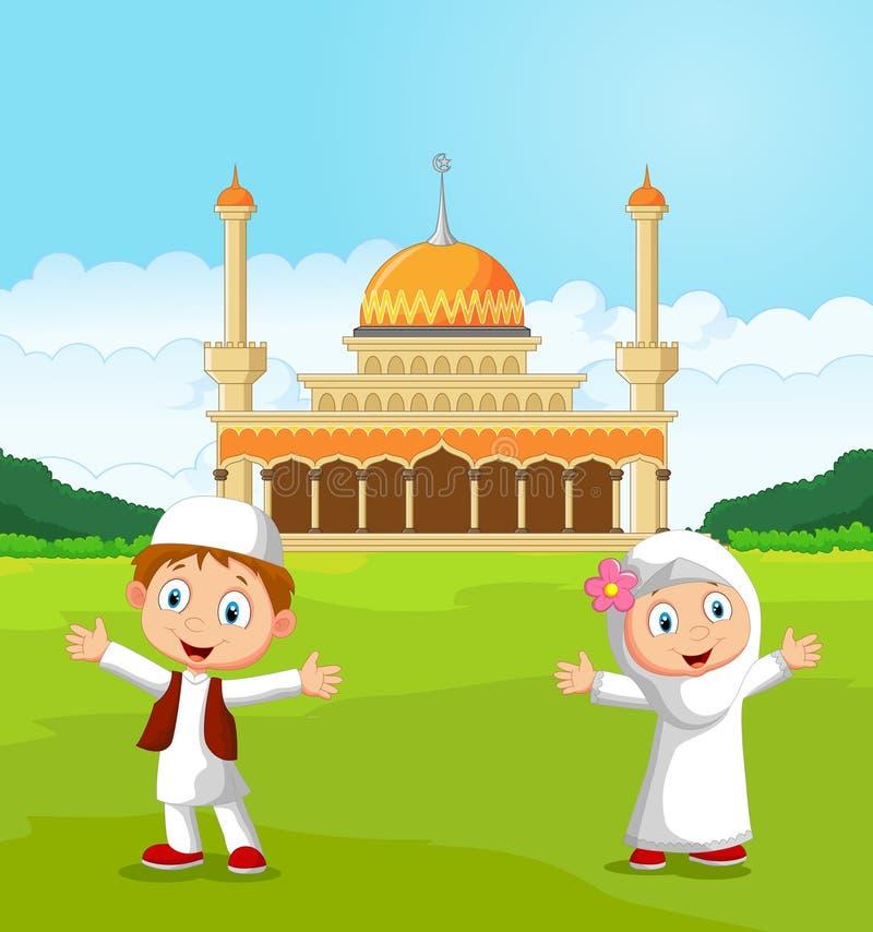 Enfants musulmans de bande dessinée heureuse ondulant la main devant la mosquée illustration de vecteur