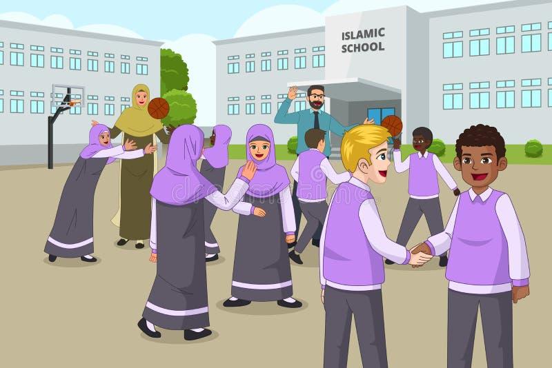 Enfants musulmans jouant dans le terrain de jeu d'école pendant le renfoncement illustration libre de droits