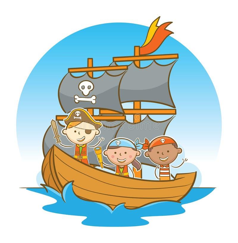 Enfants naviguant à la mer illustration de vecteur
